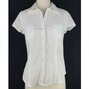 J Jill Eyelet Button Down Blouse sz S